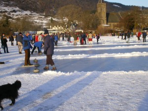 Curling on a frozen Lake of Menteith , Port of Menteith, near Stirling