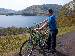 Cycling round Loch Katrine in the Trossachs to Stronalachar